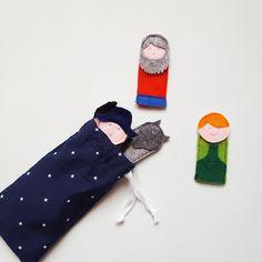 Marionnettes de doigts Pierre et le Loup, en feutrine, DIY