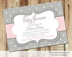 Bold Polka Dots - Pink and Gray Grey - Baby Shower Invitation - Baby Girl - PRINTABLE Invitation Design
