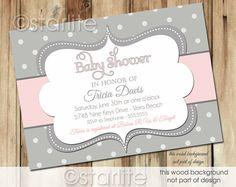Negrita lunares - rosa y gris Grey - diseño del bebé ducha invitación - bebé niña - invitación imprimible