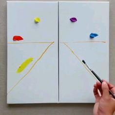 Canvas Painting Ideas of 2020 Canvas Painting Ideas video by ID: 1159505892 (Döuyin App) & wow art o Cute Canvas Paintings, Canvas Painting Tutorials, Mini Canvas Art, Painting Videos, Easy Paintings, Acrylic Painting Canvas, Acrylic Art, Kids Canvas, Canvas Ideas