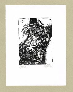 linocut dog - Google Search