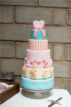 bright pink and blue wedding cake #weddingcake #brightweddingcake #weddingchicks http://www.weddingchicks.com/2014/02/27/south-africa-farm-wedding/