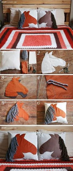 Diy Craft Projects Make your own speical horse pillow. - Diy For Teens Diy Craft Projects, Kids Crafts, Sewing Projects, Arts And Crafts, Horse Crafts Kids, Diy Pillows, Decorative Pillows, Throw Pillows, Unicorn Diy