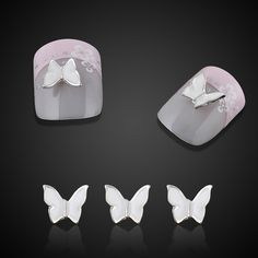 10pc Beauty White Butterfly Nail Art Decorations Tips Alloy 3d Nail Charms Jewelry For Nails Tools Free Shipping