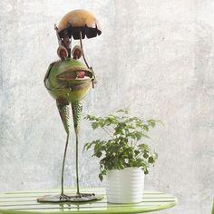 Sunjoy Whimsical Umbrella Frog Garden Statue