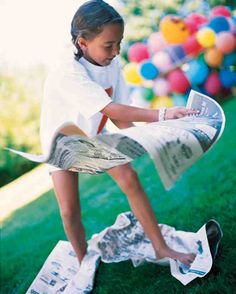 Kids are handed three sheets of newspaper and must place one beneath every step they take. This is the perfect event to place at a tricky turn in the course.