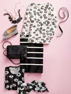 I like the black and white flower t-shirt.  And the striped pencil skirt too.