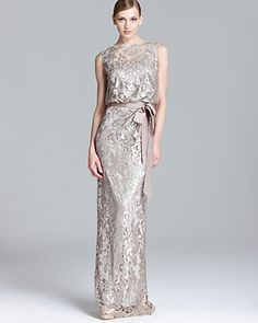 Tadashi Shoji Sequin Lace Gown - Sleeveless Blouson | Bloomingdale's. mother of the bride