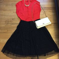 Full/a line skirt Beaded tulle overlay. Unfinished edge. Side zipper. Well loved in fantastic condition. Forever 21 Skirts A-Line or Full