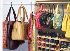 A clever organizing trick and also a storage idea is hanging your purses with shower curtain hooks. If space allows, put hooks on a closet bar and hang purses from