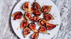 Figs with Bacon and Chile - Bon Appetit. This figs recipe is sweet, salty, sticky, and acidic—everything you want in a one-bite appetizer. One Bite Appetizers, Best Appetizers, Appetizer Recipes, Quick Kimchi, Cherry Salsa, Shrimp Toast, Fig Recipes, Delicious Recipes, Cookie Recipes