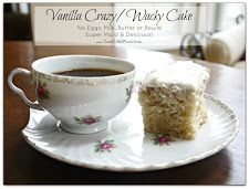 Vanilla Crazy/Wacky Cake (also know as Depression Cake) No Eggs, Milk, Butter or Bowls! Choc & Spice Cake recipes too. Wacky Cake Recipe, Crazy Cake Recipes, Crazy Cakes, Sweet Recipes, Vegan Desserts, Just Desserts, Delicious Desserts, Dessert Recipes, Vegan Cake