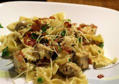 Chicken and Farfalle Pasta in a Roasted Garlic Cream Sauce Recipe -  How are you today? How about making Chicken and Farfalle Pasta in a Roasted Garlic Cream Sauce?