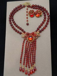 Vintage Stanley Hagler Red Set Necklace & Earrings