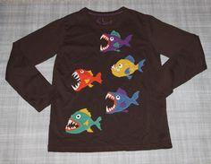 1ab25305 Mini Boden Piranha Tee T Shirt Boys 7 8 Free Shipping #MiniBoden