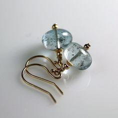 30% OFF Aquamarine Earrings Yellow Gold - 14k Gold - Aquamarine Earrings - Moss Aquamarine