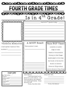 First Day of Fourth Grade Newspaper