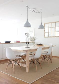 Little*Haus Autumn 2015 Dining Room Blue, Dining Room Design, Dining Chairs, Lights Over Dining Table, Minimalist Dining Room, Dinner Room, Decoration Design, Room Inspiration, Living Room Decor