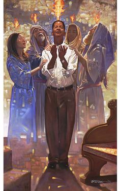 The Baptism in the Holy Spirit by artist Ron DiCianni is an open edition art print which can be purchased on paper or canvas at special sale prices at Christ-Centered Art. Day Of Pentecost, Trinidad, Religion Catolica, Saint Esprit, Prophetic Art, Holy Ghost, African American Art, Praise And Worship, Christian Art