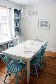 Painted Kitchen Table And Chairs. And Still Lovinu0027 The Painted Chairs Idea.