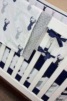 Navy Mint and Gray Baby Bedding Crib Set Mint Gray by modifiedtot