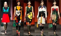 #TimBlanks explained how mural #art energized at #Prada. These girls in the gang looked #brutallychic with graffiti #eyebrows,high heel @Teva and pretty little #handbags. You go girls! www.prada.com #womensfashion #womenswear