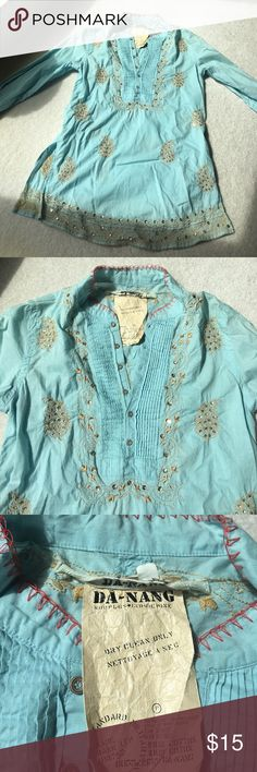 Da-Nang Tunic Gorgeous Da-Nang Tunic with gold sequin and embroidery. In great condition. MOVING SALE. READY TO SHIP! Da-Nang Tops Tunics
