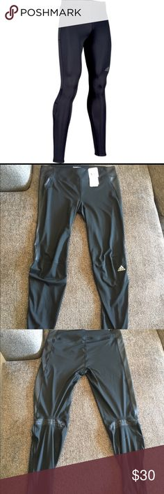 Adidas Supernova Climalite Long Tight These are amazing, machine washable, black tights made of 86% polyester, and 16% spandex. They have a shiny black insert on both sides of the leg, a gray detailing behind the knee, and zippers on both legs at the calf. These are great for running, working out, or just running errands around town! Adidas Pants
