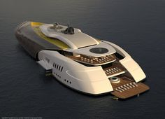 Megayacht and Submarine Concept. If built this will be a luxury super yacht above water with, pools, decks, clubs and heli pad with a hangar. Then the wing like hatches close up and will go below the surface, it can deploy mini subs or divers for exploration. An amazing idea....let's see if it actually becomes a reality.