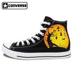 80840763607b98 Men Women Converse All Star Pumpkin Halloween Jack-o-lanterns Design Hand  Painted Shoes
