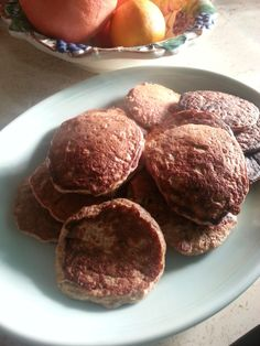 Shawna's Amazing Paleo Pancakes ~ 1 cup oats, 4 eggs, 2 ripe mashed bananas, 1 tsp baking powder, ¼ tsp sea salt, 1 tsp cinnamon (or more, if you like), 1 tsp vanilla (add vanilla protein powder if you want), 4 Tbsp coconut milk. Whip together and cook like regular pancakes.  SO good w/out any syrup needed!