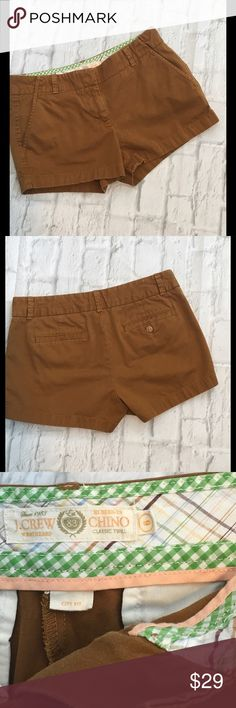 J Crew Tobacco City Fit Shorts Size 6 Cute Chino shorts. Inseam 3 Waist 16 Rise 9. DI J. Crew Shorts