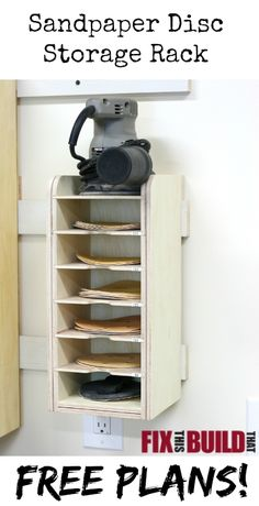 Tame your random orbital sander and supplies by building this Sandpaper Disc Storage Rack. This sanding station will help organize your shop! FixThisBuildThat.com More