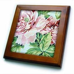 """Abstract Pink Floral - 8x8 Framed Tile by Florene. $22.99. Keyhole in the back of frame allows for easy hanging.. Inset high gloss 6"""" x 6"""" ceramic tile.. Cherry Finish. Dimensions: 8"""" H x 8"""" W x 1/2"""" D. Solid wood frame. Abstract Pink Floral Framed Tile is 8"""" x 8"""" with a 6"""" x 6"""" high gloss inset ceramic tile, surrounded by a solid wood frame with predrilled keyhole for easy wall mounting.. Save 15%!"""