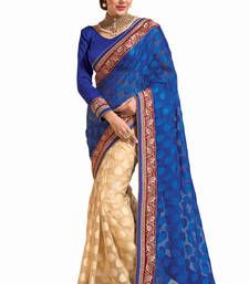 Buy Blue - Chiku embroidered jacquard saree with blouse jacquard-saree online