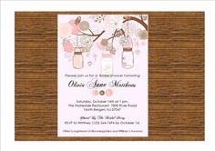 Rustic Bridal Shower Invitation / Vintage Mason Jars and Tree Branches
