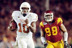 Vince Young leads Texas to a thrilling National Championship win over USC at the Rose Bowl. Texas Longhorns Football, Ut Longhorns, Ncaa College Football, Championship Game, National Championship, Colt Mccoy, Ricky Williams, Hook Em Horns, University Of Texas