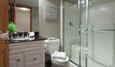 Whistler Rental Arrowhead Point #5 Separate Bathroom (Off Main Hallway) with Glass-Enclosed Shower @whistlrplatinum #vacation #rental #whist...