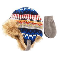 Keep the chill at bay while he's on the go with this Toddler Boys' Fairisle Trapper Hat and Mitten Set in Blue from Cat and Jack. These cold weather necessities have cute written all over them. Baby Winter Hats, Baby Hats, Toddler Mittens, Pumpkin Hat, Trapper Hats, Cat And Jack, Baby Halloween, Toddler Boys, Kids