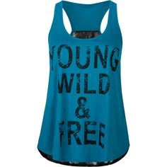 FULL TILT Young Wild & Free Womens Tank (16 AUD) ❤ liked on Polyvore featuring tops, shirts, tank tops, blusas, tanks, teal blue, floral shirt, racer back tank, teal tank top and racer back tank top