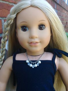 "White Pearl and clear crystal dangle necklace earrings for American Girl and other 18"" dolls by BFFandMEJewelry on Etsy"