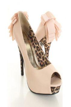 Nude Faux Leather Leopard Peeptoe Ribbon Pleat Platform Pump Heels