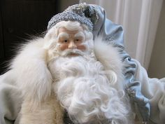 Father Christmas Doll: Pale Blue and Silver with White Coat and White Fur ( One of a Kind Handmade Old World Santa Claus )