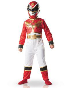 Disfraz Power Rangers™ rojo niño: Este disfraz dePower Rangers™ rojo para niño pertenece a la licencia oficial e incluye un mono y una máscara.El mono rojo y blanco tiene bandas doradas que le dan un toque...