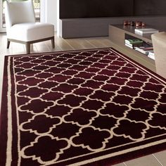 Trellis Contemporary Modern Design Burgundy Area Rug (7'10 x 10'2) | Overstock.com Shopping - The Best Deals on 7x9 - 10x14 Rugs