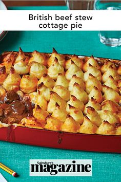 This comforting cottage pie is a British classic, great for feeding a group or warming up on a cold day. A layer of rich beef stew is topped with mashed potato and baked until golden. Get the Sainsbury's magazine recipe Midweek Meals, Healthy Dinners, Beef Recipes, Cooking Recipes, Magazine Recipe, Hearty Beef Stew, Cottage Pie