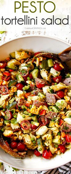 This pesto pasta salad is vibrant, fresh and satisfying summer in a bowl on your table in 25 minutes! It's SO easy and my favorite salad for potlucks!  #recipes #easyrecipe #recipes #recipeoftheday #recipeideas #recipeseasy #corn #grilledcorn #pasta #pastasalad #tomatoes #pesto #salad #saladrecipe #recipe #potluck #siderecipe #summer #summerrecipes via @carlsbadcraving Pesto Tortellini Salad, Best Pasta Salad, Pasta Salad Recipes, Pesto Salad, Side Recipes, Easy Dinner Recipes, Easy Meals, Soup And Salad, Salad Bar