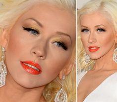 Maquiagem dourada iluminada