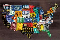 USA Map - License Plates Art