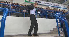 Arena Security shows off his dancing skills at Amur game